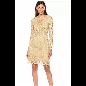 Nanette Lapore poetic love gold lace dress NWT